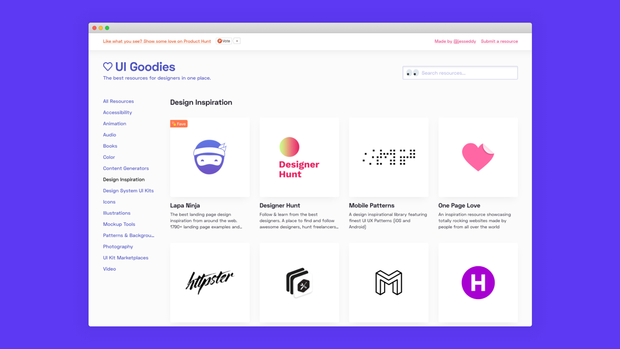 UI Goodies: All the best resources for designers in one